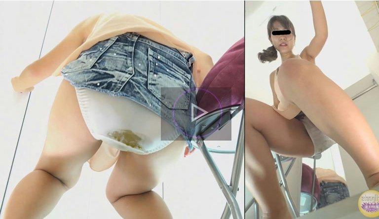更衣室の中で腹痛でウンコをおもらししちゃう女の子の動画 素人撮影会 更衣室封鎖お漏らし2